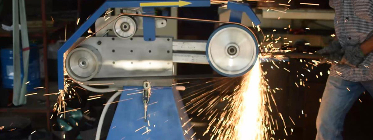 banner test máy mài dây đai với sức tỳ 50 kg